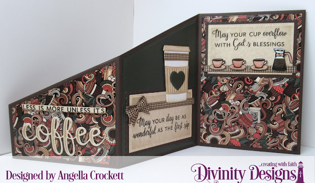 Divinity Designs: Perk Up Stamp/Die Duos, Latte Love Paper Collection; Custom Dies: Z Fold Card with Layers, Sentiment Strips, Beverage Cup, Pierced Rectangles, Scalloped Rectangles; Card Designer Angie Crockett