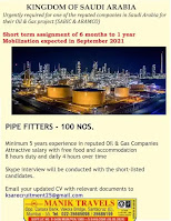 Pipe Fitters for Sabic Aramco Oil & Gas Gulfwalkin