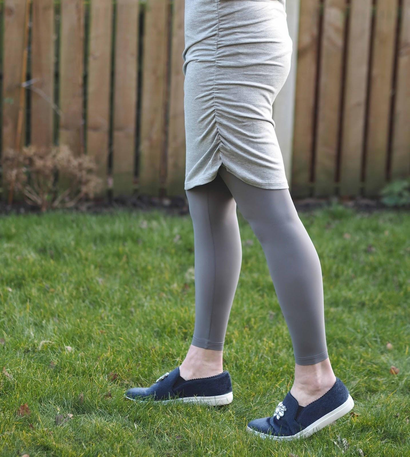 Hope fashion grey leggings, grey top, grey drape top, over 40 fashion