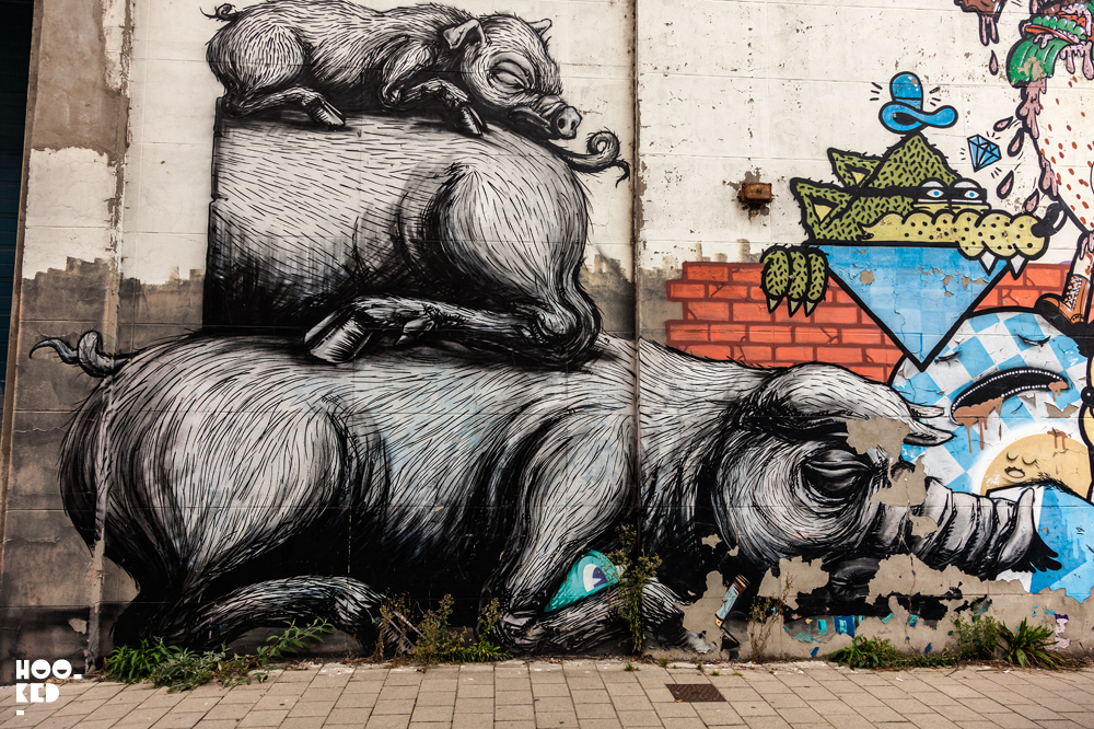 Street Art Mural in Ghent, Belgium featuring work from street artist ROA