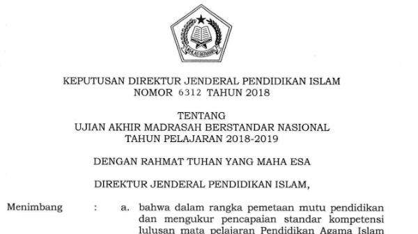 Direktur Jenderal Pendidikan Islam telah merilis surat keputusan nomor  Download POS UAMBN MTs/MA Tahun Pelajaran 2018/2019