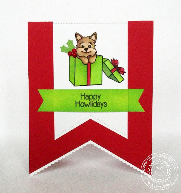 Sunny Studio Stamps: Santa's Helpers & Fishtail Banners Christmas Card by Mendi Yoshikawa