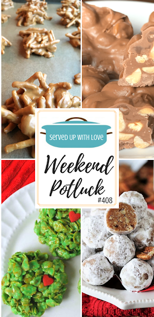 Weekend Potluck featured recipes include Crock Pot Peanut Clusters, Kentucky Bourbon Balls, No Bake Grinch Cookies, Peanut Butter Haystacks, and so much more.