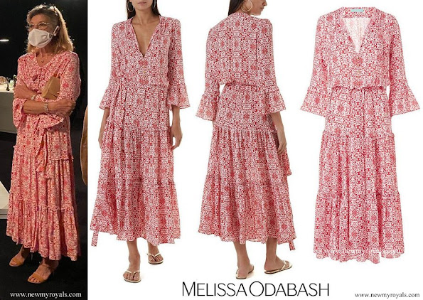 Princess Caroline wore a new red tile-print bell-sleeve maxi dress from Melissa Odabash