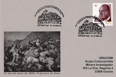tarjeta, filatelia, matasellos, Exfilna, Oviedo, Independencia,