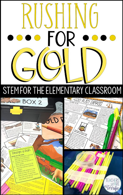 Upper elementary ideas for the California Gold Rush. This includes an Escape Room., a STEM Challenge, and a reading resource. #teachersareterrific #goldrush