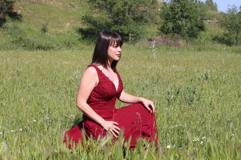Vestido borgoña