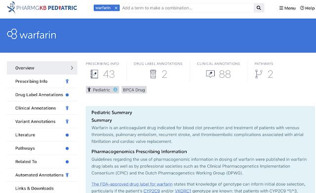 screenshot of warfarin page on pediatric site