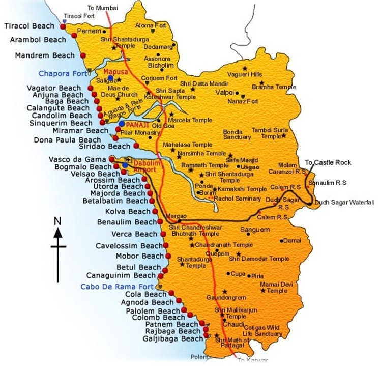 Goa Beach and Temples Map