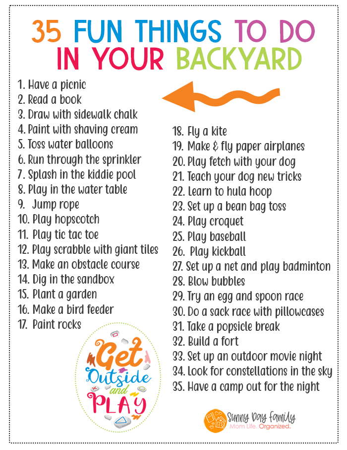 35 Fun Things to Do in Your Backyard this Summer | FREE ...