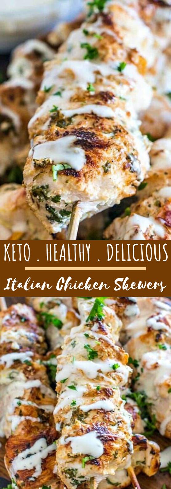 Keto Italian Chicken Skewers #keto #recipe #grilling #chicken #lowcarb