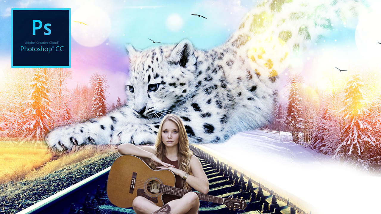 Photoshop Tutorial : Huge Fantasy Snow Leopard with Beautiful Guitar Woman Manipulation