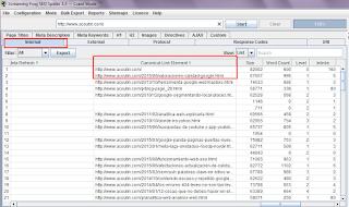 Muestra resultados de reporte interno de páginas de frogseo y las canonical asociadas a las páginas Web