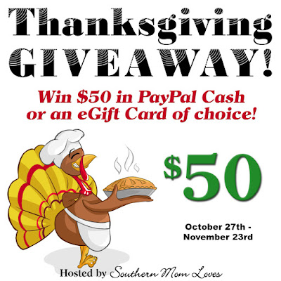 Enter the $50 of Choice Thanksgiving Giveaway. Ends 11/23