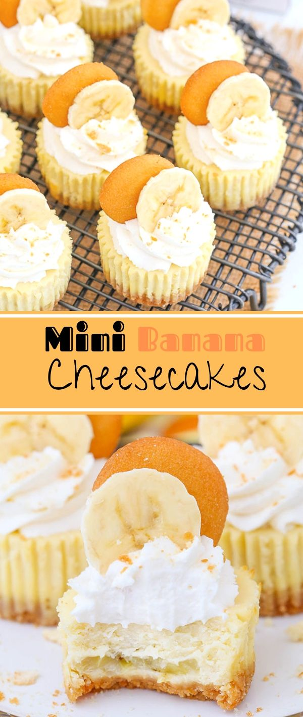 Mini Banana Cheesecakes #Mini #Banana #Cheesecakes Dessert Recipes Easy, Dessert Recipes Healthy, Dessert Recipes For A Crowd,