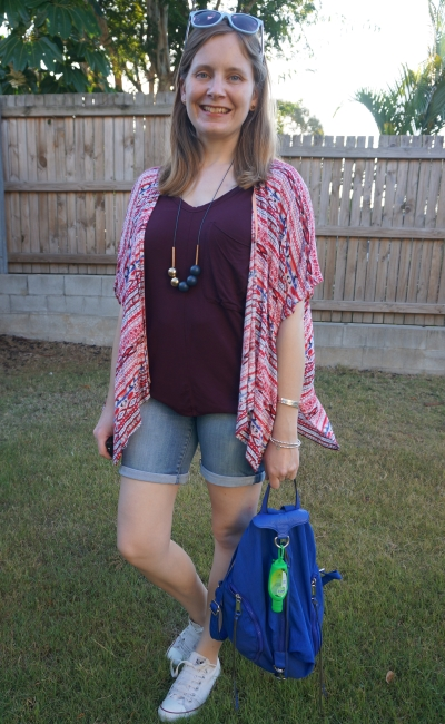 red printed kimono, wine tee, bermuda denim shorts and converse weekend style | away from the blue