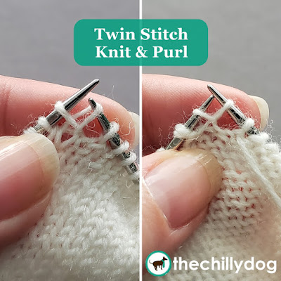 Knitting Tutorial: The twin stitch knit (tsk) and twin stitch purl (tsp) are special turning stitches used when knitting shadow wrapped short rows.
