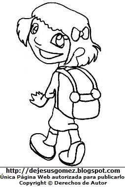 Dibujo de una niña feliz caminando a la escuela para colorear pintar imprimir por Jesus Gómez