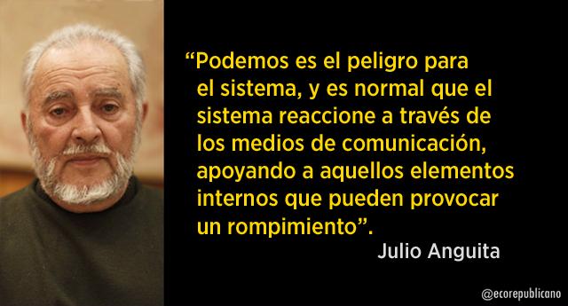 """Julio Anguita: """"Unidos Podemos no existe hasta que las militancias de Podemos, IU y Equo trabajen juntas"""""""