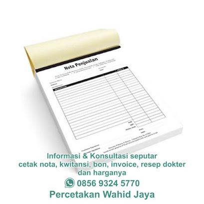 ukuran kertas nota kwitansi bon invoice resep dokter