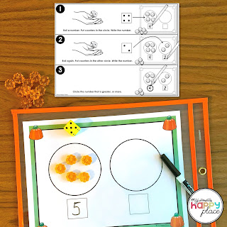 Printable Center Game for Comparing Numbers