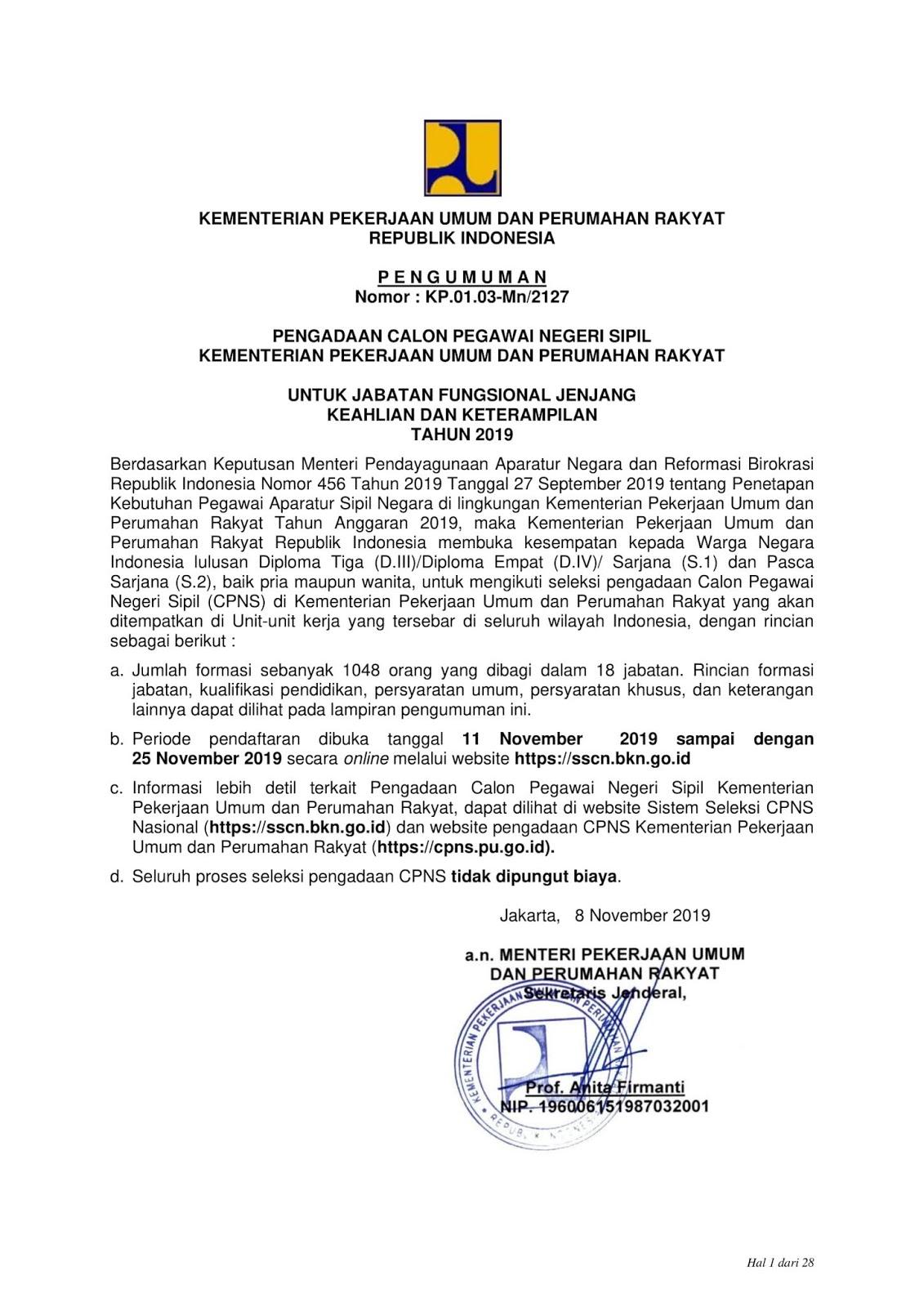 Lowongan CPNS Kementerian Pekerjaan Umum dan Perumahan Rakyat Tahun Anggaran 2019 [1048 Formasi]
