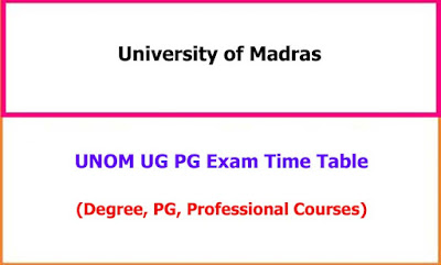 UNOM UG PG Exam Time Table