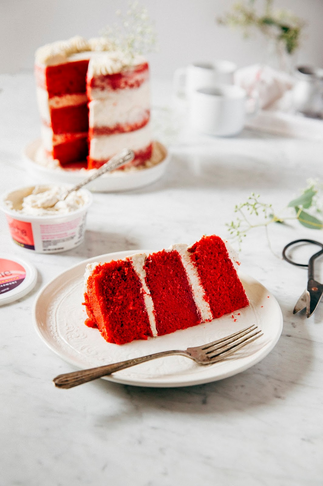 A Naked Red Velvet Cake With Crme Frache Frosting For A Blog