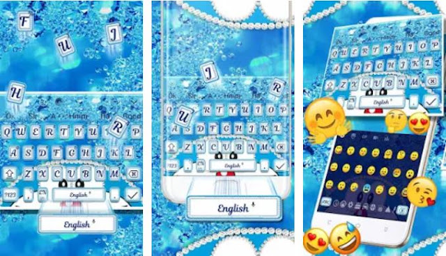 Blue Cat Shiny Diamond Keyboard
