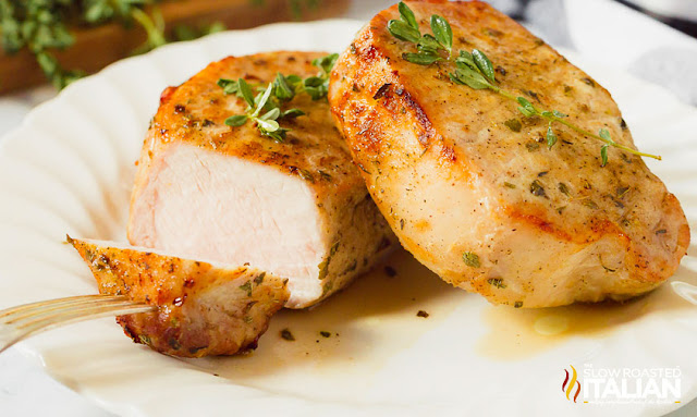 air fryer pork chops with fork on plate