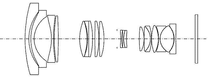 Оптическая схема для объектива 16-70mm f/4 для полного кадра из патента Tamron