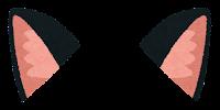 獣耳のイラスト(黒1)