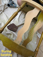 Old Green Chair - During Sanding