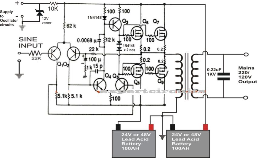 1kva  1000 watts  pure sine wave inverter circuit using