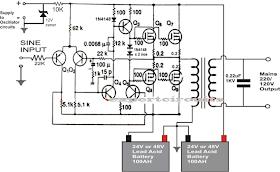 1KVA (1000 watts) Pure Sine Wave Inverter Circuit using