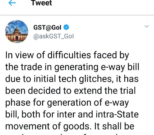 Compulsory generation of e-way bill deferred-GOI tweets