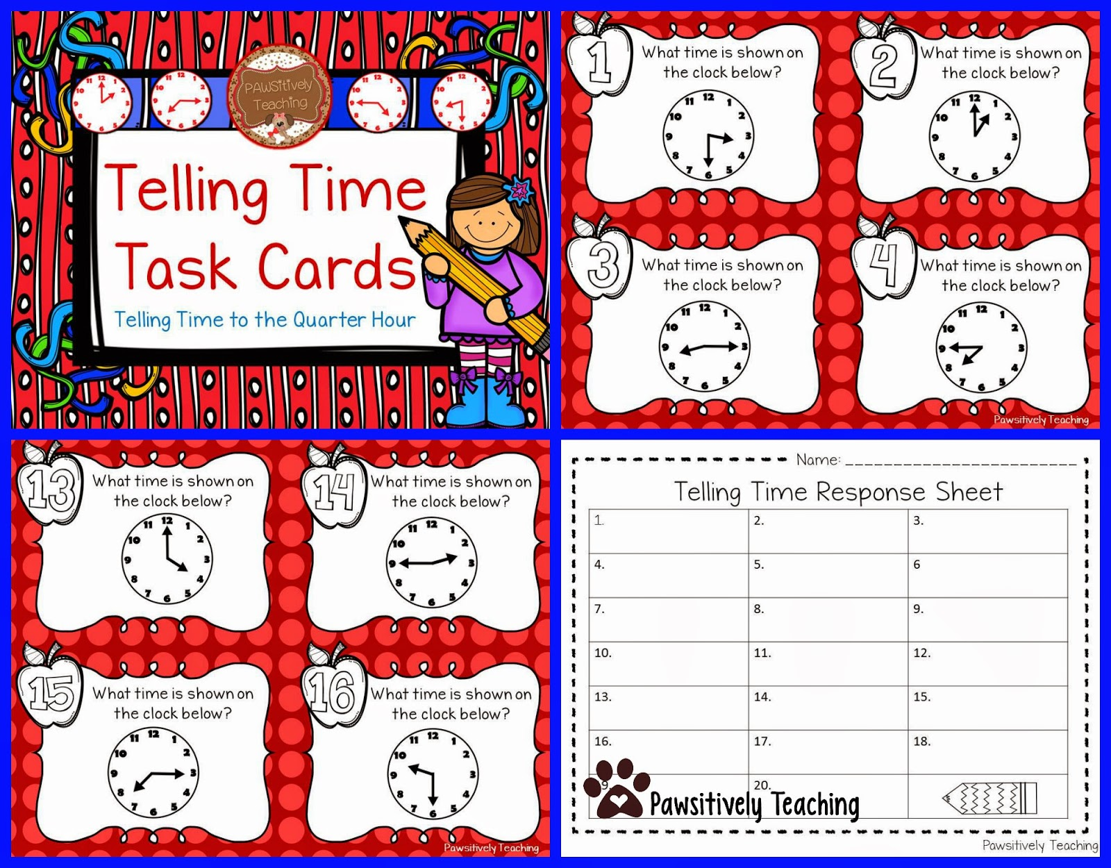 Classroom Freebies Too Telling Time Task Cards