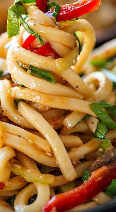 Chilled Garlic Sesame Udon Noodles with Vegetables