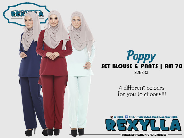rexylla, set blouse and pants, poppy collection