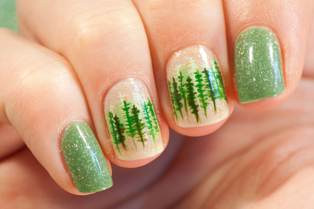 Masura Peace in Love and Masura Sands Whisper Forested Nail Art