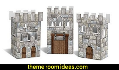 Castle Favor Boxes  medieval knights party props - castle theme party decorations - Medieval theme party decorating - Castle party props - princess party props - knight and princess costumes - Princess & Knight party ideas - Medieval wall decorating kit - harry potter party supplies - Medieval Birthday Party
