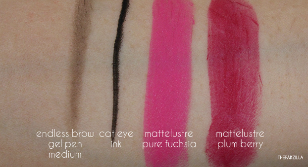 pixi glow tonic, pixi mattelustre lipstick review, swatch, pixi cat eye ink, pixi endless brow gel