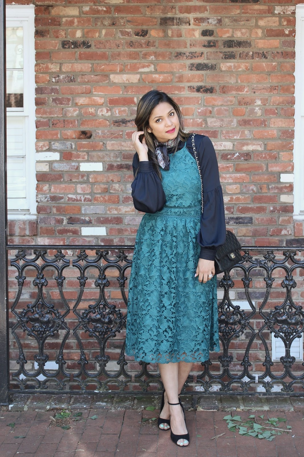 layering for sprinf, teal lace dress, loft lace dress, chanel vintage classic bag, sequin heel sandal, summer fashion, street style, blogger, saumya , myriad musings