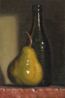 Still life oil painting of a pear beside a green glass bottle.