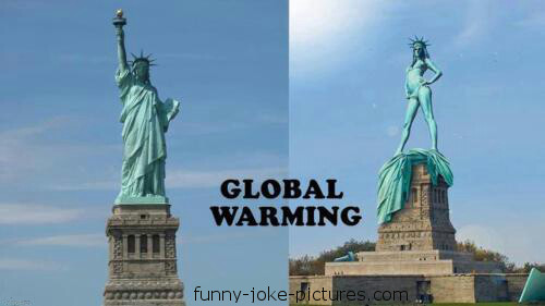 Global Warming New York Liberty Statue Joke