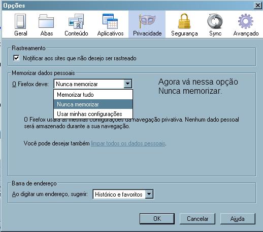 Navegação Privada no Mozilla