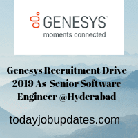 Genesys Recruitment Drive 2019 As  Senior Software Engineer @Hyderabad