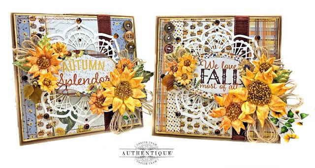 Authentique Splendor Autumn Cards Tutorial by Kathy Clement