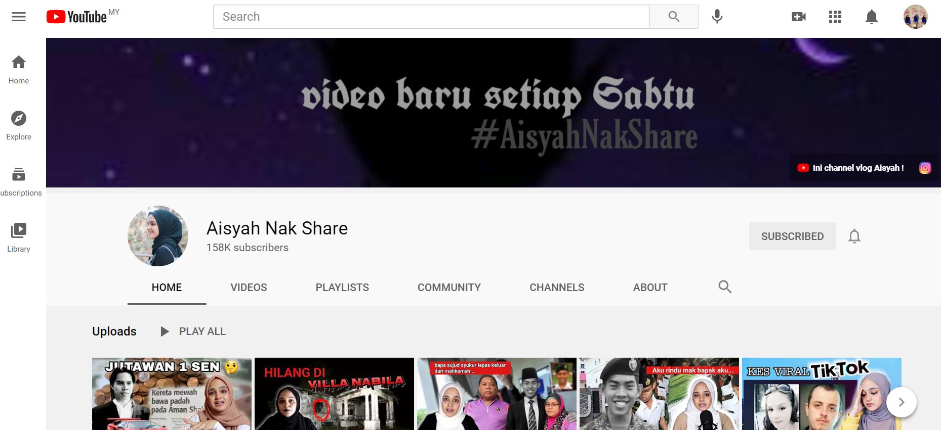 Aishah Habshee Youtuber Malaysia