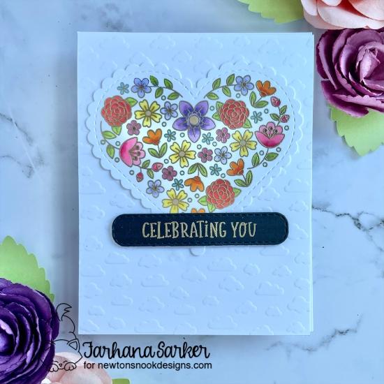 Celebrating You Card by Farhana Sarker | Heartfelt Blooms Stamp Set, Heart Frames Die Set, Petite Clouds Stencil and Banner Trio Die Set by Newton's Nook Designs #newtonsnook